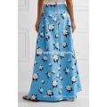 New Fashion Pleated Printed Cotton Maxi Skirt DEM/DOM Manufacture Wholesale Fashion Women Apparel (TA5148)