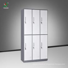 Armário de aço direto da fábrica que muda vestiário lockers 6 compartimento