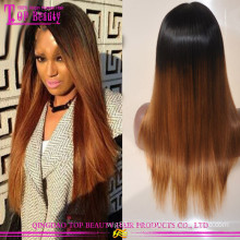 24 дюймов 130%плотность два тона ломбер бразильские прямые кружева перед парик 100% человеческих волос ломбер парик