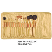 15pcs golden plastic handle animal/nylon hair makeup brush set with golden satin case