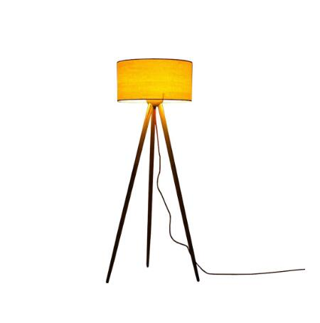 Traditional wooden fabric tripod floor lamp