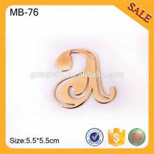 MB76 Etiqueta de equipaje de cuero de encargo, Letra grabada etiqueta de la etiqueta del colgante del metal para el bolso
