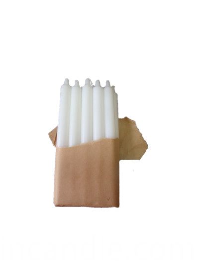 white fluted candle