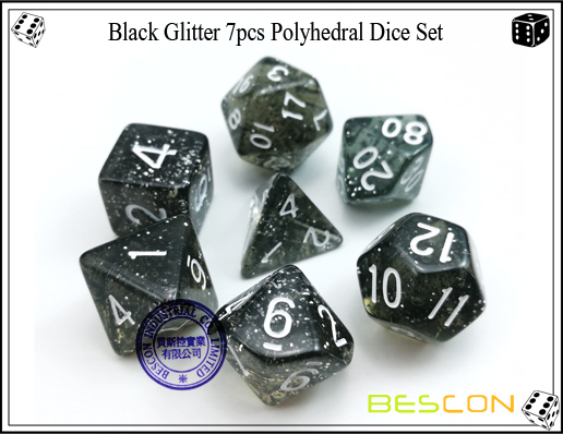 Assorted Colored Glitter 7pcs Polyhedral Dice Set-19