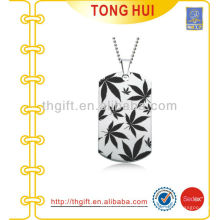 Printing Leaf dog tag necklace factory imitation jewelry