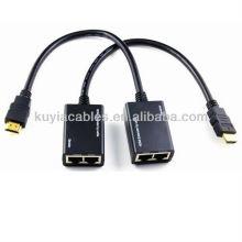 Cable del extensor de HDMI Prolongador de HDMI sobre el cable de Cat5e / 6 Extensor de HDMI con la cola, Tx + Rx / unidad, hasta 30m1080p
