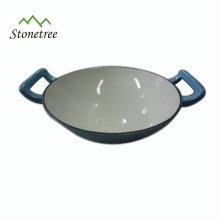 Grand poêle wok ovale en émail bleu à revêtement en fonte