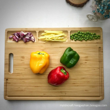 Large Organic Bamboo Cutting Board For Kitchen, With 3 Built-In Compartments And Juice Grooves, Heavy Duty Chopping Board