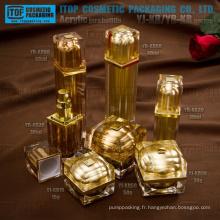 Nouvelle arrivée très beau et élégant de luxe 100 % qualité garantissent carré acrylique en pots et flacons cosmétiques packaging