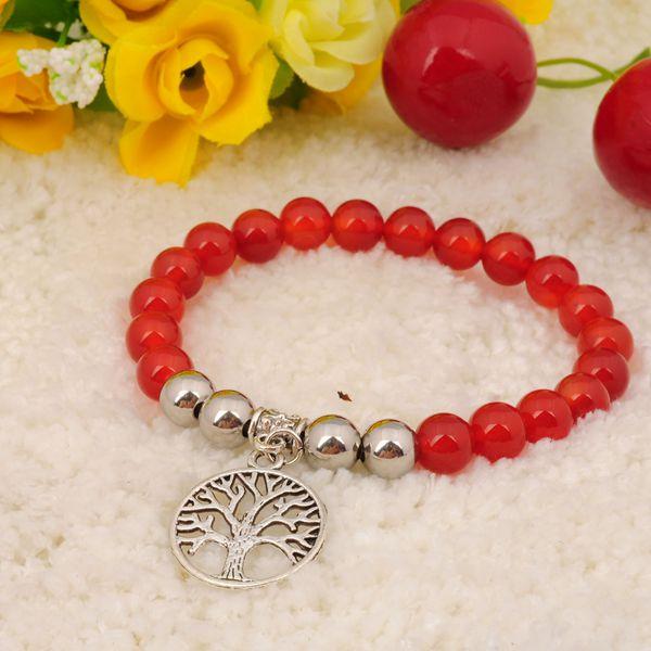 Pendentifs d'alliage naturels rouge cornaline Bracelet pierres précieuses Bijoux