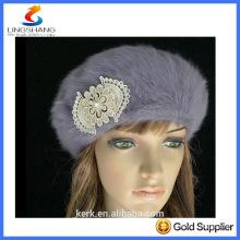 lingshang angora high quality knitted fashion winter girl flower crochet hat