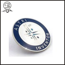 Round enamel silver pin badge