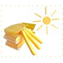 Éponge compressée de nettoyage du visage jaune/houppette en éponge de cellulose naturelle