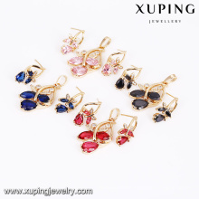 64180 Xuping wholesale colorful fashion two pieces set gold plated zircon alloy jewelry