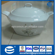 kitchen utensils high quality China tureen, 2L square container for soup with lid