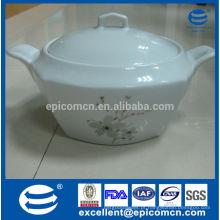 Utensílios de cozinha de alta qualidade China tureen, 2L recipiente quadrado para sopa com tampa