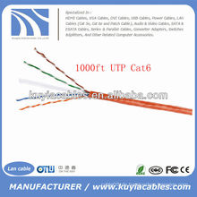 Orange 1000FT 4pairs Cat6 Netzwerk UTP Kabel