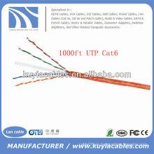 Naranja 1000FT 4pairs Cat6 Cable de red UTP