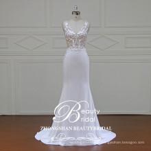Voir à travers la robe de mariée sexy image sirène robe de mariée avec tissu de crêpe de haute qualité