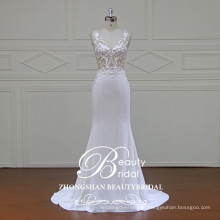 Veja através de vestido de noiva sexy vestido de noiva sereia com tecido de crepe de alta qualidade