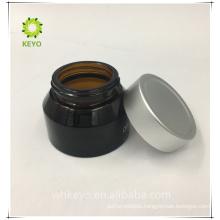 Small glass jars 40ml black aluminium cosmetic glass jar with metal caps for cosmetics