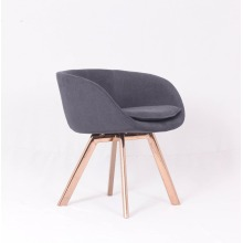 Replica Tom Dixon dining chair by gold stainless steel leg