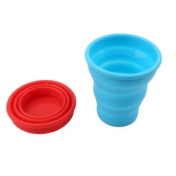 Shock-proof Collapsible Travel Cup Red Blue Silicone Bottle