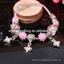 Yiwu Jewelry 925 Sliver European Charm Bracelet, bracelet en perles de cristal de bricolage, perles en verre pour bijoux