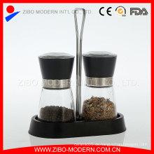 Einstellbarer Schleifkeramikmechanismus Glassalz und Pfeffermühle mit Gewürzregal