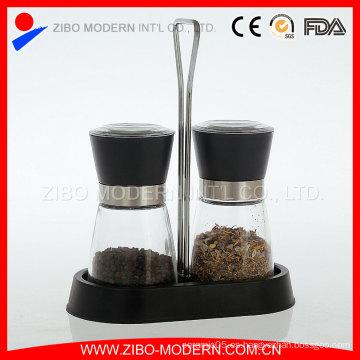 Mecanismo de cerámica de molienda ajustable Sal de vidrio y molino de pimienta con estante de especias