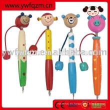 Bolígrafo de dibujos animados baratos de madera para la escuela y la oficina