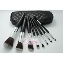 Bolsa de cuero negro sintético cosméticos conjunto de cepillo de maquillaje 8 piezas