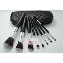 PU Bag Black Synthetic Cosmetic Makeup Brush Set 8 Pieces
