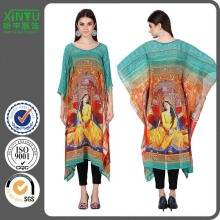 2016 Popular Summer Georgette 3/4th Sleeves Printed Kaftan