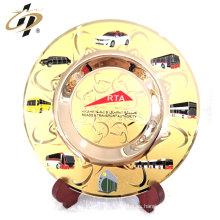 Placa de placa de logotipo de oro grabado Souvenir grabado con esmalte
