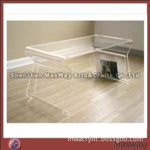 Transparent Acrylic Coffee Table with Magazine Rack/holder