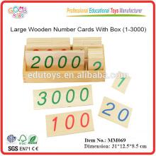 Montessori große hölzerne Zahl-Karten mit Kasten (1-3000)