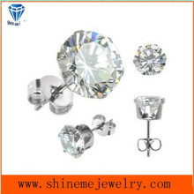 Shineme Jewelry Stainless Steel Single Stone Earring (ER2675)