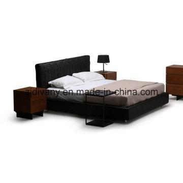 Chambre à coucher moderne mobilier cuir lit (A-B41)