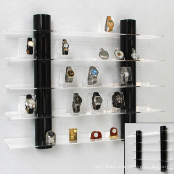 Intall Acrylic Showcase for Watches, Wall Mounted Watch Shelf