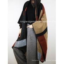 100% Акриловая мода Леди Зимняя Теплый Бербури Проверенный Сплетенный Плащ