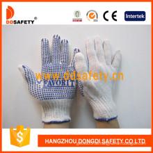 Bleiche Baumwolle / Polyester String Knit Handschuh blau PVC Punkte einseitig (DKP150)