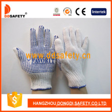 Bleach Cotton / Polyester String Knit Glove Blue PVC Dots One Side (DKP150)