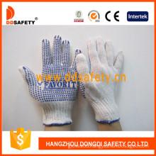 Bleach Cotton/Polyester String Knit Glove Blue PVC Dots One Side (DKP150)