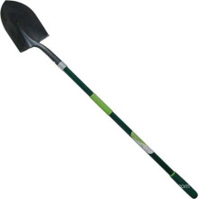 Garden Tools Forged Steel Sharp Spade Round Shovel with Fibreglass Handle