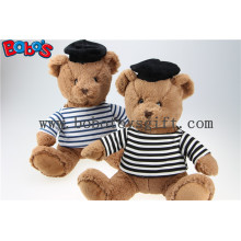 Navy Teddy Bear Plush Gift Soft Bear Toys with Sailor′s Striped Shirt and Black Cap
