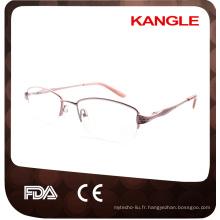 Trames optiques en métal de ligne de base économique de demi de jante de mode / lunettes en métal pour la vieille dame