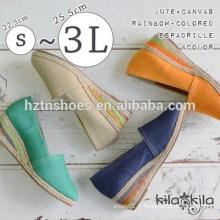 2015 design de printemps paille colorée chanvre welting femme jolies sandales à cale