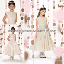 HF2091 2014 new style champagne cap sleeve graceful lace appliqued top gathered band drop waist taffeta girls party dresses