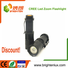 Wholesale Cheap Price Emergency Tactical usage Mini Aluminum High Bright 3watt Cree small powerful led torch with Zoom Function